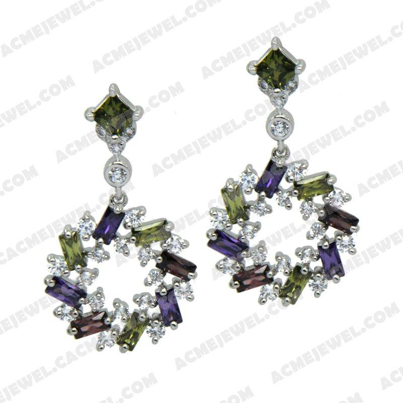 Earrings Silver / Brass  Rhodium plating