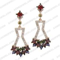 Earrings Silver / Brass  2-tone(black rhodium / rose gold plating)