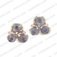 Earrings 925 sterling silver  2-tone Rose gold and black rhodium