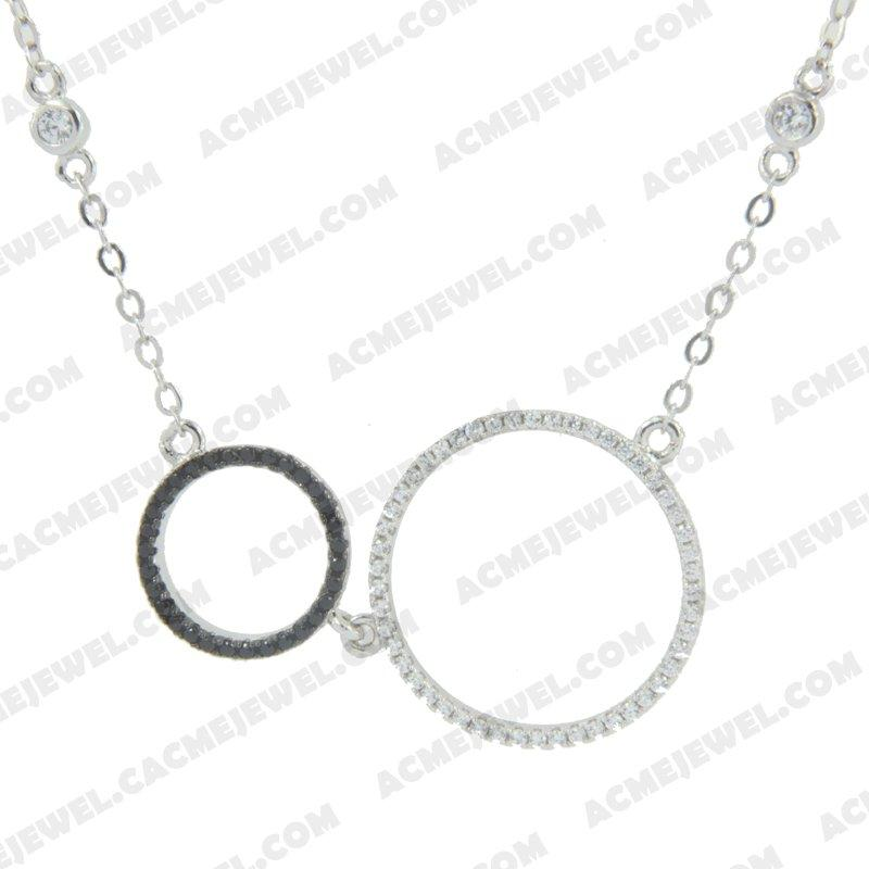 Necklace 925 Sterling Silver 2-tone Rhodium and black rhodium