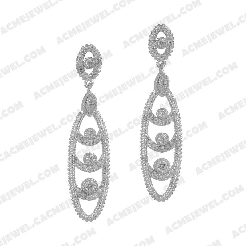Earrings 925 sterling silver  White Rhodium